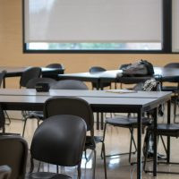 Photo of empty chairs in a classroom