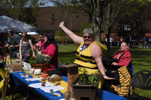 Pamela Hough poses as a 'Queen Bee' to promote the preservation of bees and other pollinators. Photo by Dylan Umsted.