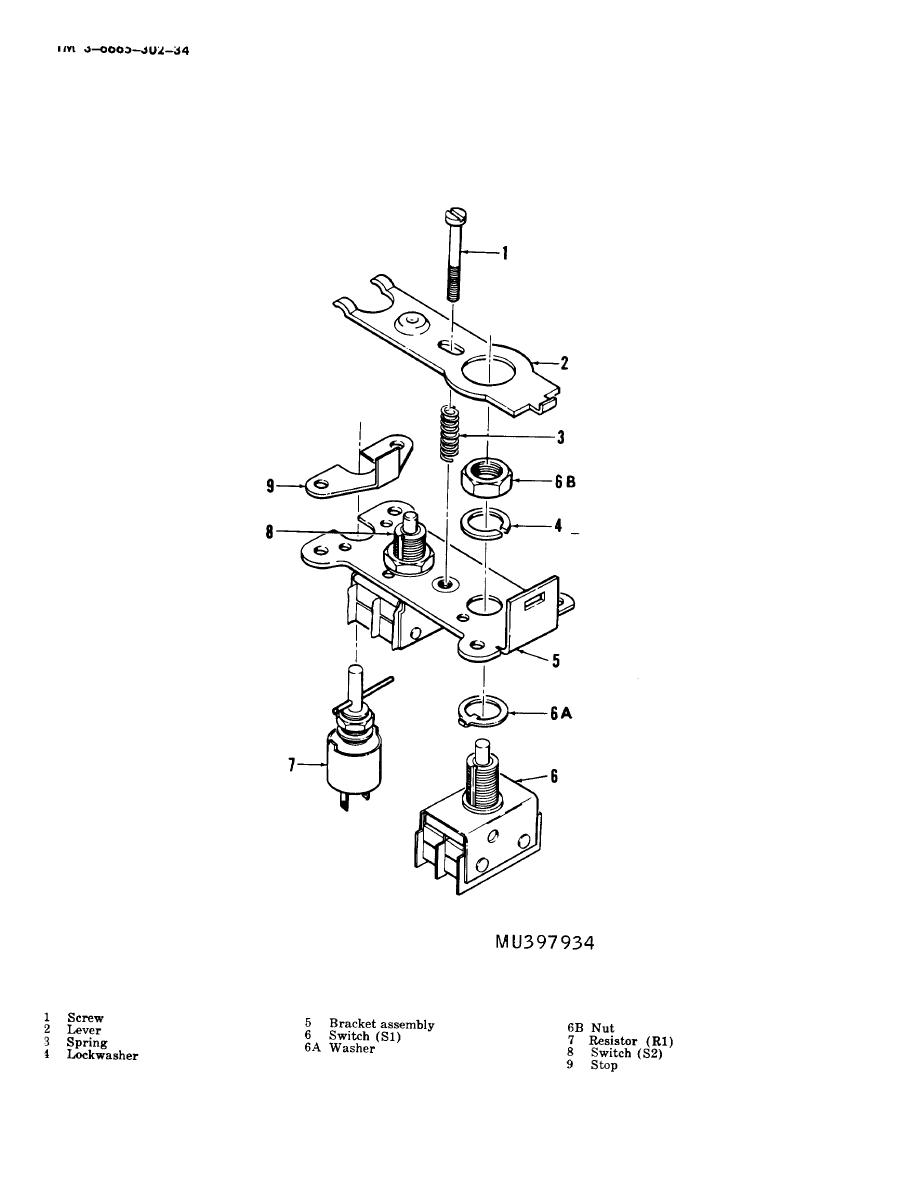 Figure 4-3. Switch assembly, exploded view.
