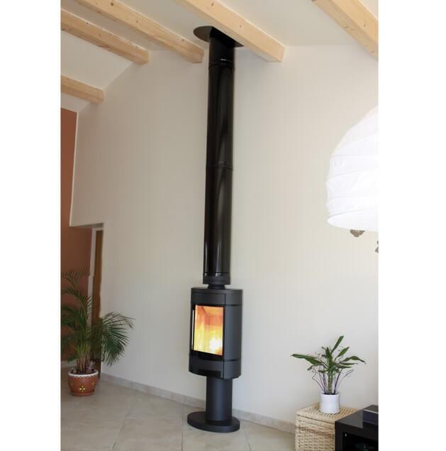 conduit de cheminee double paroi kit interieur poujoulat inox galva o150mm