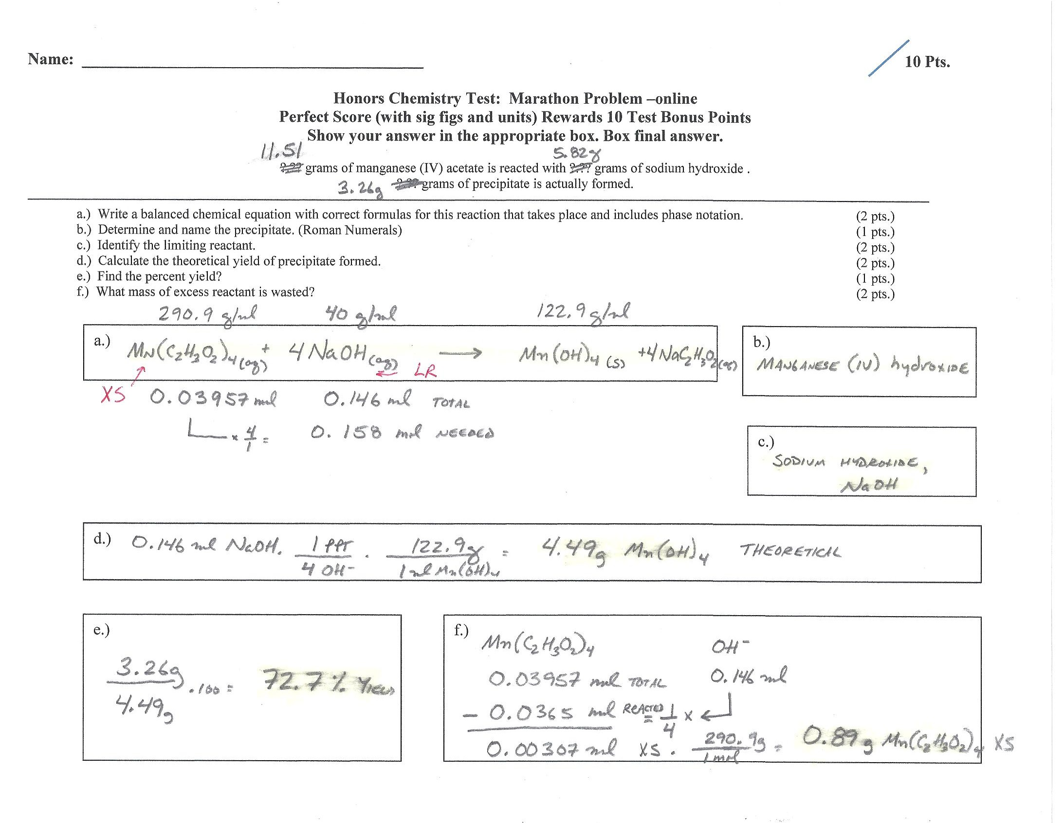 Honors Chemistry Net Ionic Equations Worksheet