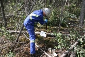 Soil core sampling for arson wildfire investigation.