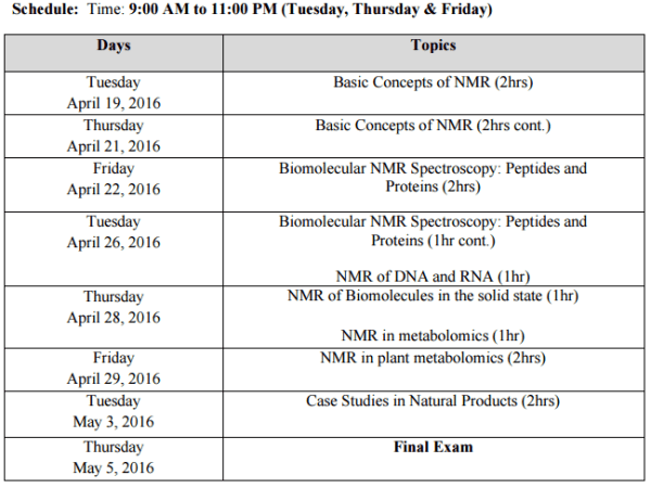 NMR of Biological Molecules Schedule