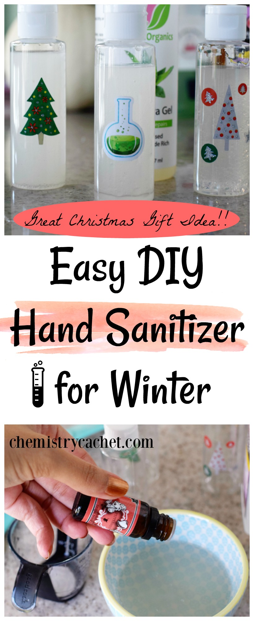 Easy DIY Hand Sanitizer for Winter (Great Christmas Gift Idea!) on chemistrycachet.com #handsanitizer #DIY #natural