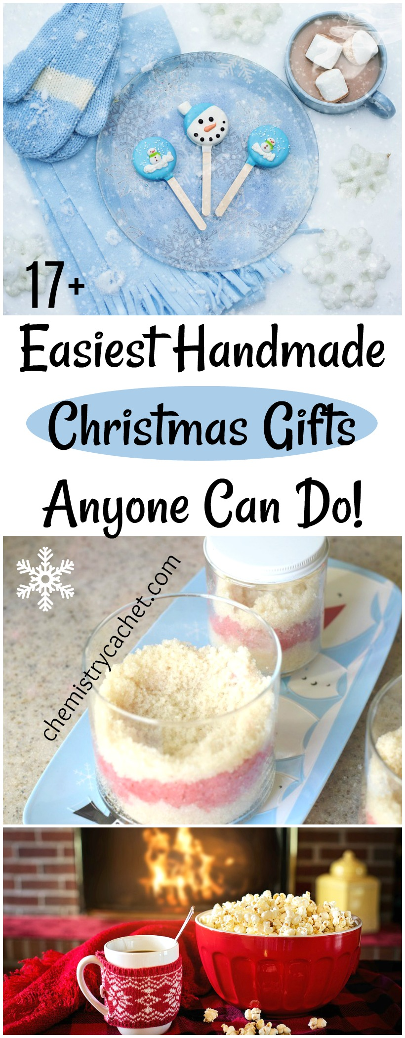 17+ Easiest Handmade Christmas Gifts Anyone Can Do! on chemistrycachet.com #handmadechristmas #easychristmasDIY