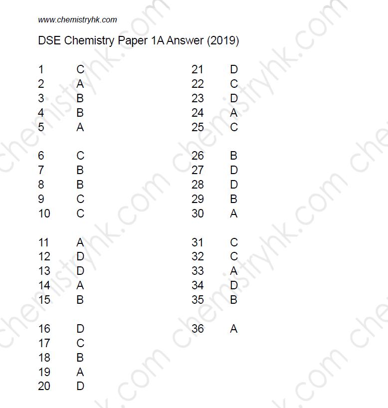 2019 DSE Chemistry Past Paper 1A MC Answer Marking Scheme