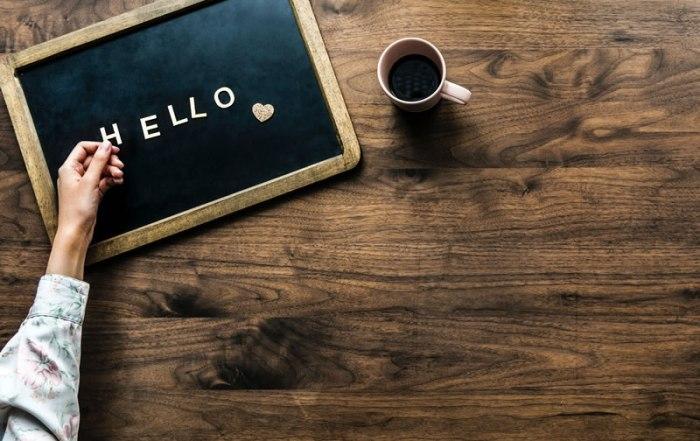 A blackboard displaying the word hello