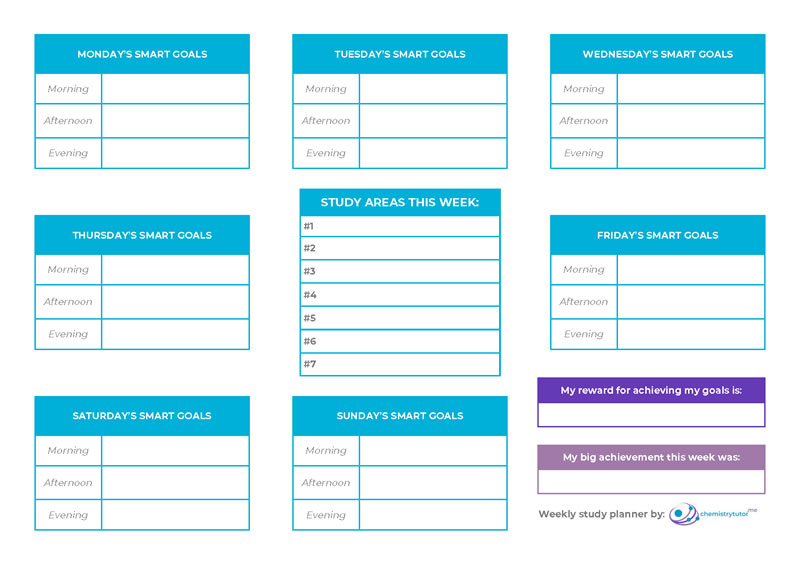 Study planner with SMART goals for more effective revision