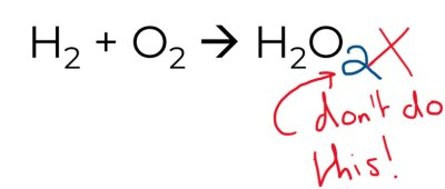 A chemical equation balanced by changing subscripts is not allowed