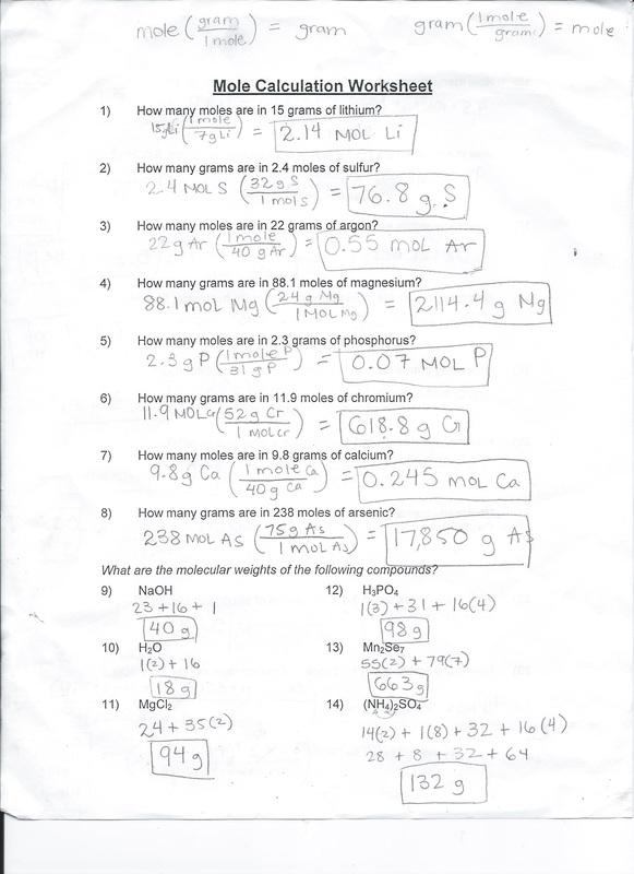 Mole Calculation Worksheet  Ivy's Chemistry Blog