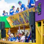 GONDRON Rain or Shine on Krewe de Wideload's Mardi Gras float