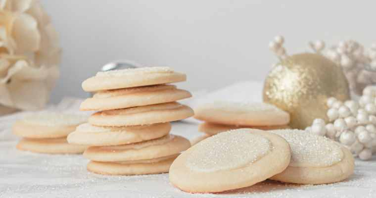 White Chocolate Peppermint Cookie Recipe with Sparkling Sugar