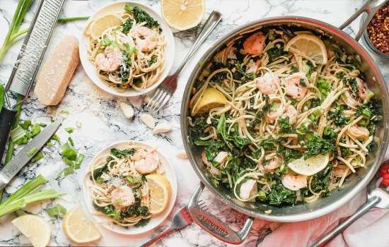 Lemon Shrimp Pasta with Kale