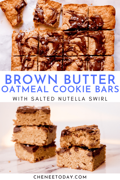 Easy Brown Butter Oatmeal Cookie Bars with Salted Nutella Swirl | Chenée Today