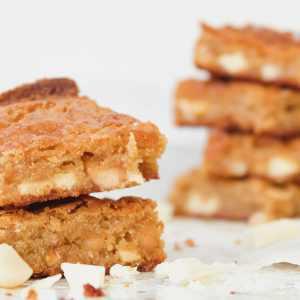 Gluten Free Blondies with White Chocolate Chunks