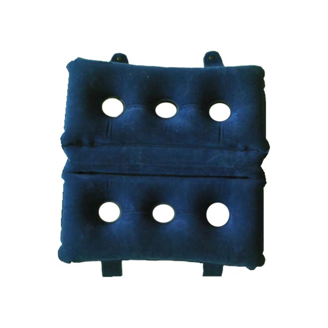 Inflatable Cushion. Can also be folded in half to increase the height / thickness. Holes in the middle provide air ventilation. The loops on the sides helps to secure on the chair if needed.