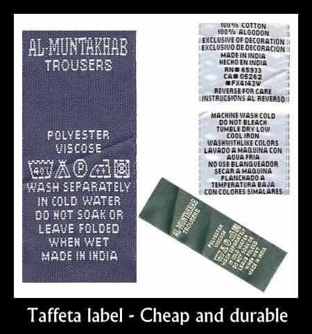 Taffeta label supplier in Chennai