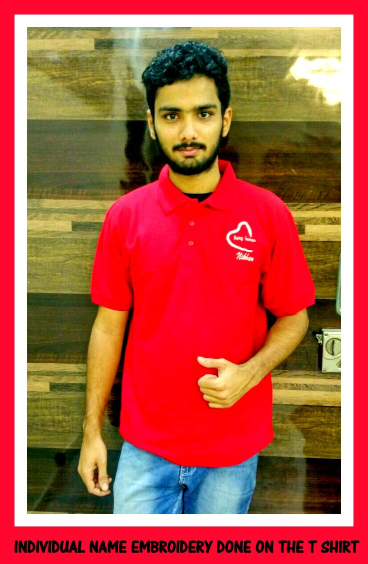 T shirt with customized embroidery i.e with individual names