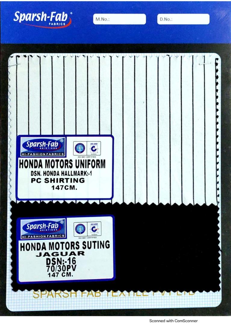 Honda motors uniforms in India