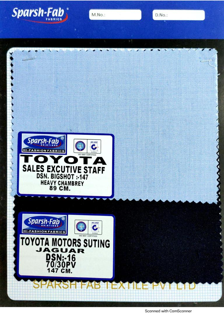 Toyota motors uniforms in India