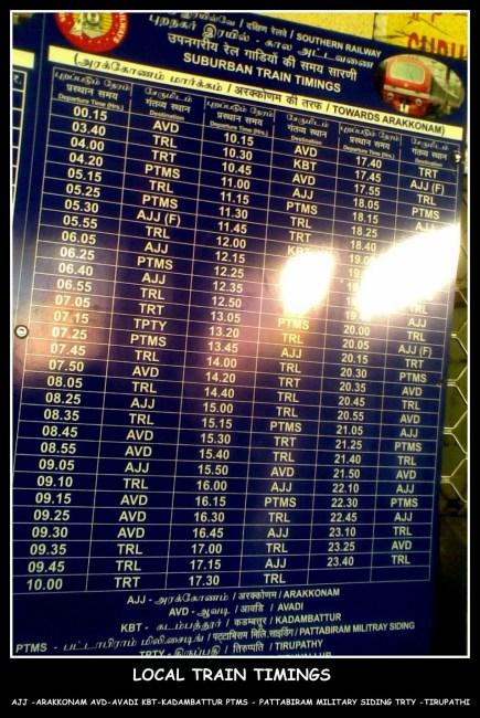 Chennai - Arakkonam Local Train Timings