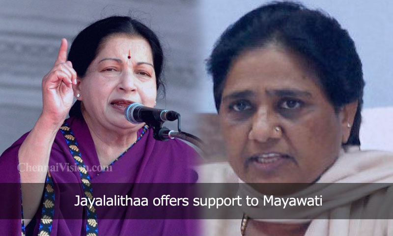 Jayalalithaa offers support to Mayawati