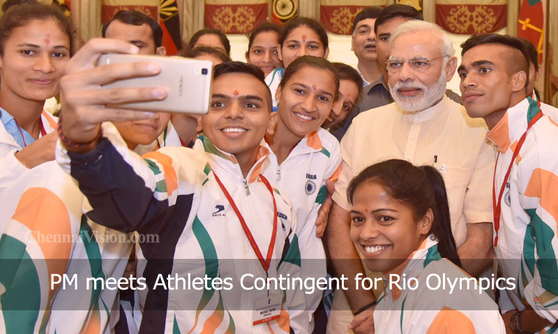 PM meets Athletes Contingent for Rio Olympics