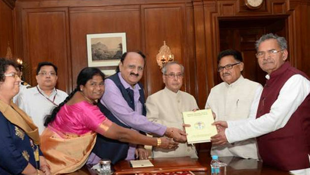 National Commission for Scheduled Castes Submits Reports to Pranab Mukherjee