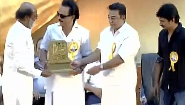 Rajini, Kamal, Stalin share stage at Murasoli event in Chennai