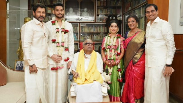 Karunanidhi presides over great grandson's wedding with Vikram's daughter