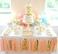 Pink, Blue and Gold Carousel Cake Table First Birthday ...