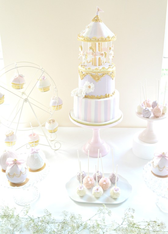 Pink Lilac and Gold Carousel Themed Cake Table  Chrie Kelly