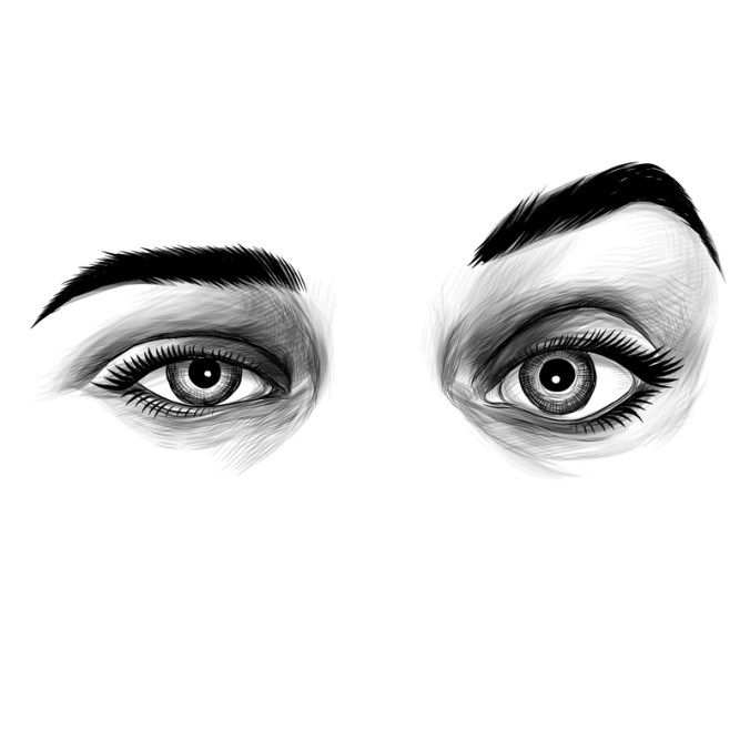 women's eyes sketch vector graphic