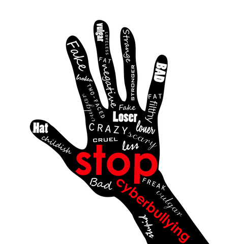illustration of thenar, hand with lettering bullying, intimidate, bully, cow, browbeat, bluff, daunt. Social media poster. Society problem from Internet