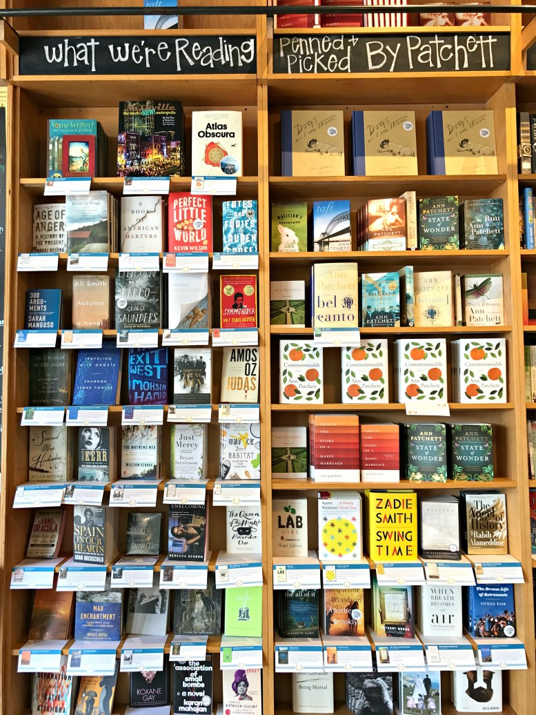 Shelves of recommended books at Parnassus Books, a bookstore co-owned by Ann Patchett.
