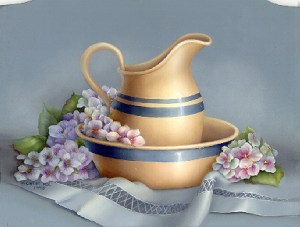 Calendar Still Life - Water Pitcher & Hydrangeas by Cheri Rol