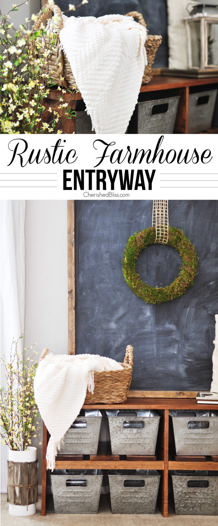 love this rustic farmhouse entryway that bench those bins i want it all