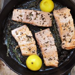 Dash Kitchen Appliances White Lacquer Cabinets Iron Skillet Seared Salmon - Cherished Bliss
