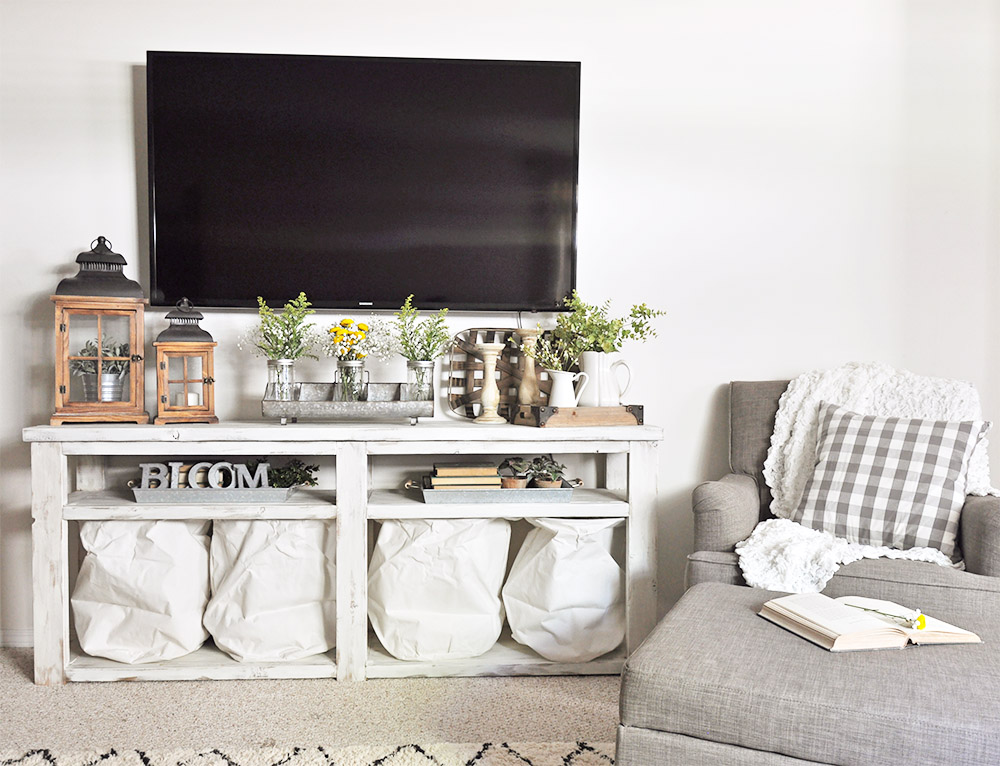 living room tv stand outdoor ideas update a new chair cherished bliss industrial farmhouse decor