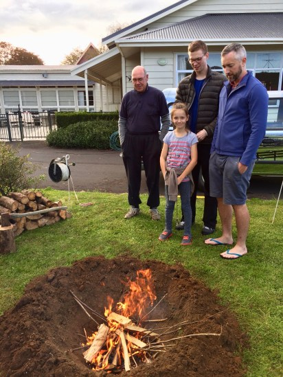 Pit dug and fire lit. Note the clean burning flame. The fire pit is 0.82 m deep by 0.84 m diameter, giving a volume of 0.15 cu m