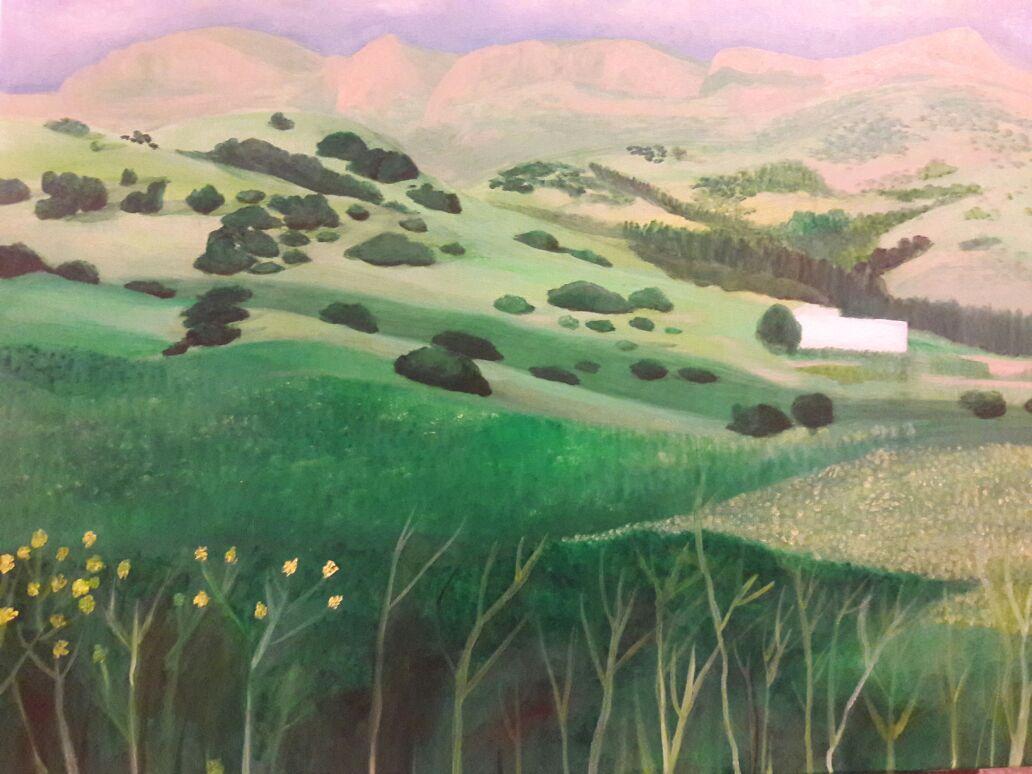 """Sophy Cherkov, """"Landscape"""", Oil on Canvas"""