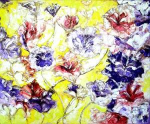 פרחים על רקע צהוב