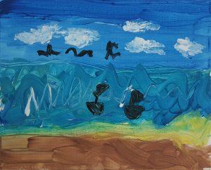 "Ido, ""Boats in the sea"", Gouache on Canvas"
