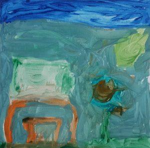 "Gavriel, ""House"", Gouache on Canvas"