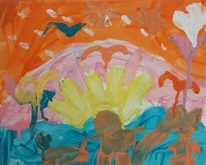 "Noga, ""Sunset"", Gouache on Canvas"