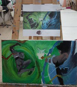 """Idan, """"battle"""", Oil on Canvas"""