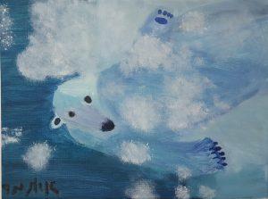 """Itamar, """"polar bear"""", Oil on Canvas"""