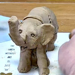 Elephant from natural ceramic clay