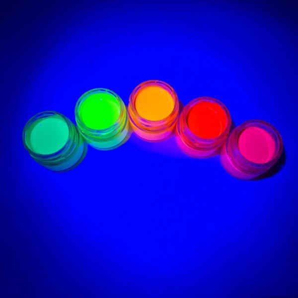 סט צבעי גואש זוהרים באולטרה סגול