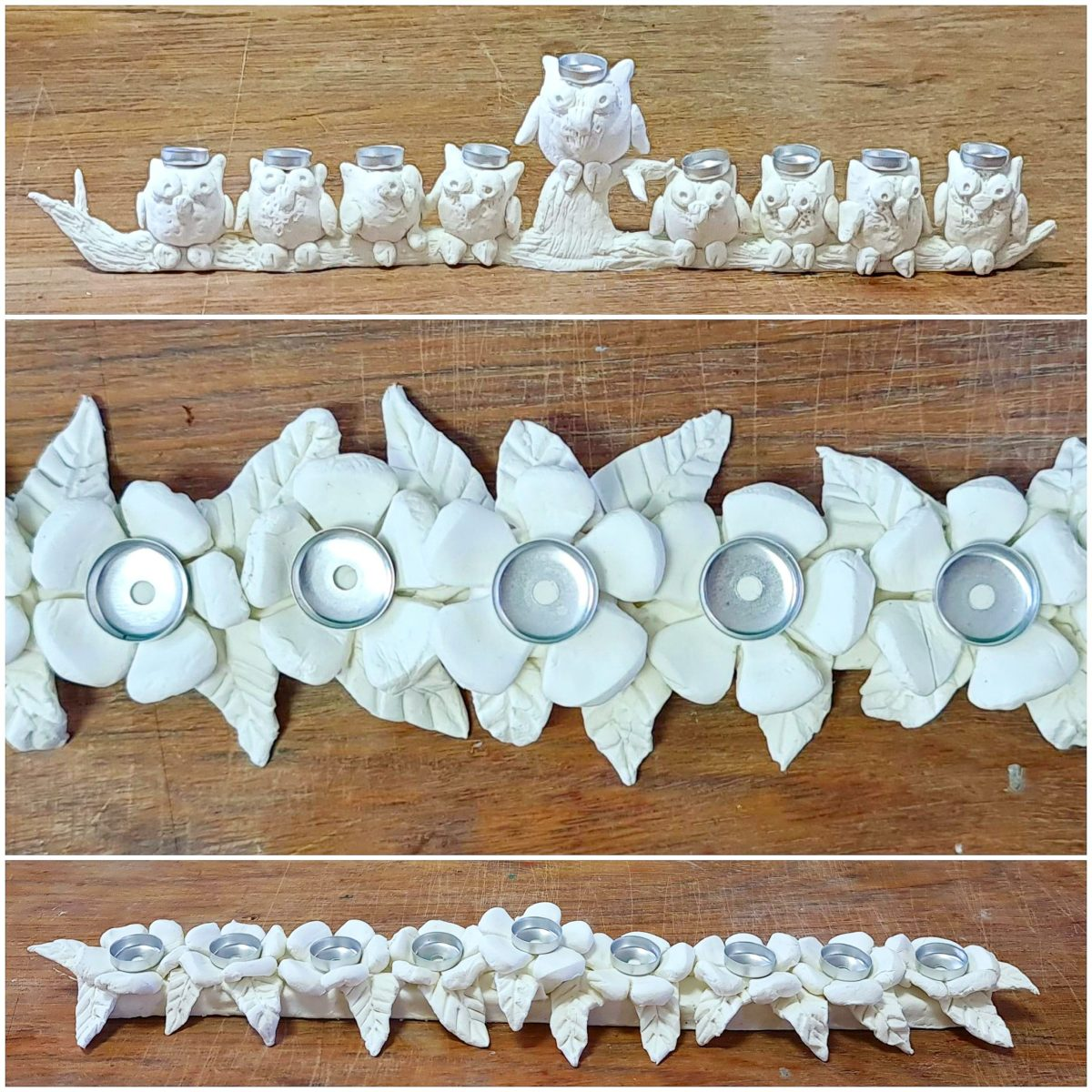 DIY clay menorahs